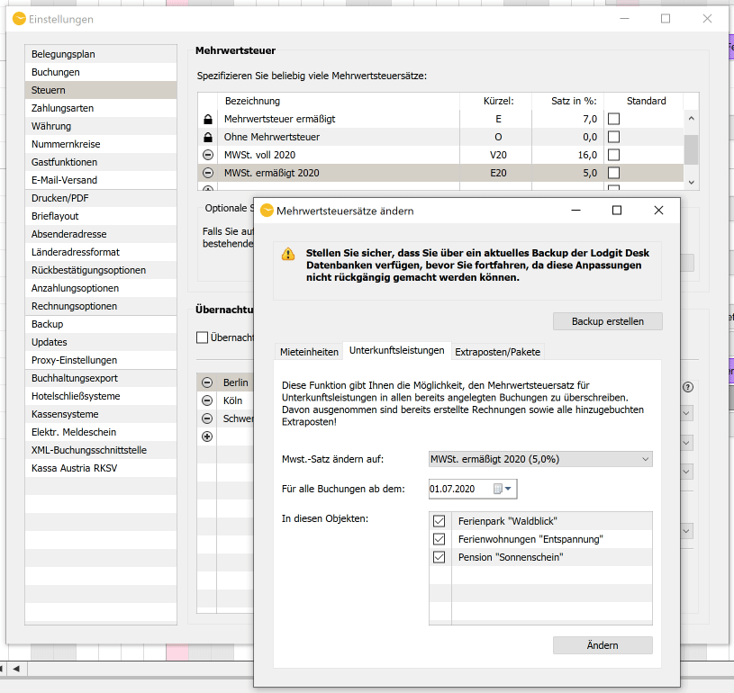 A screenshot of the window of the function to change the VAT rate in Lodgit Desk.