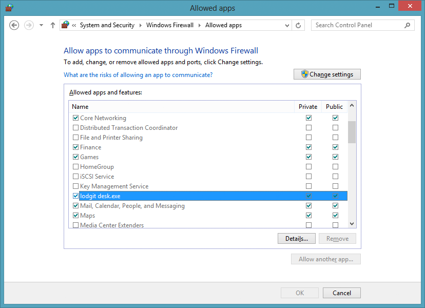 Windows 8 firewall access with Lodgit Desk
