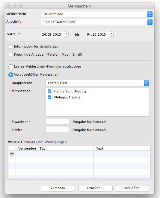 Screenshot of the Lodgit Desk window where you can create a registration form.