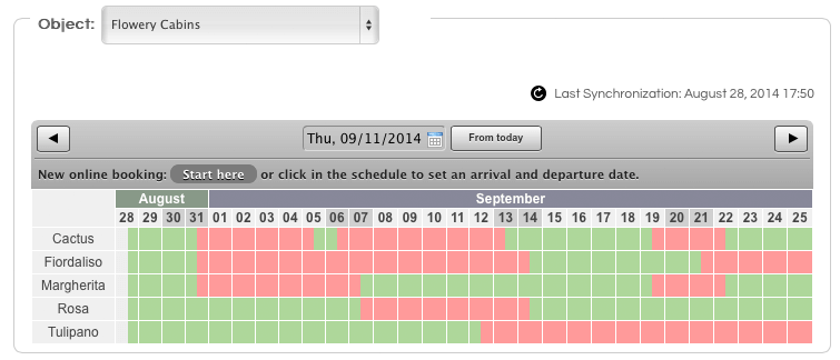 booking calendar in the lodgit account
