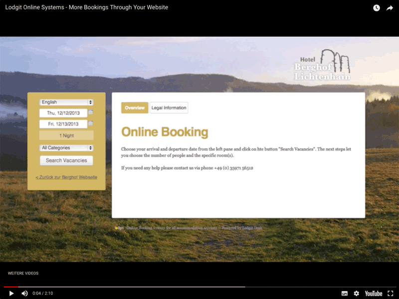 Youtube Video: Lodgit Online Booking System