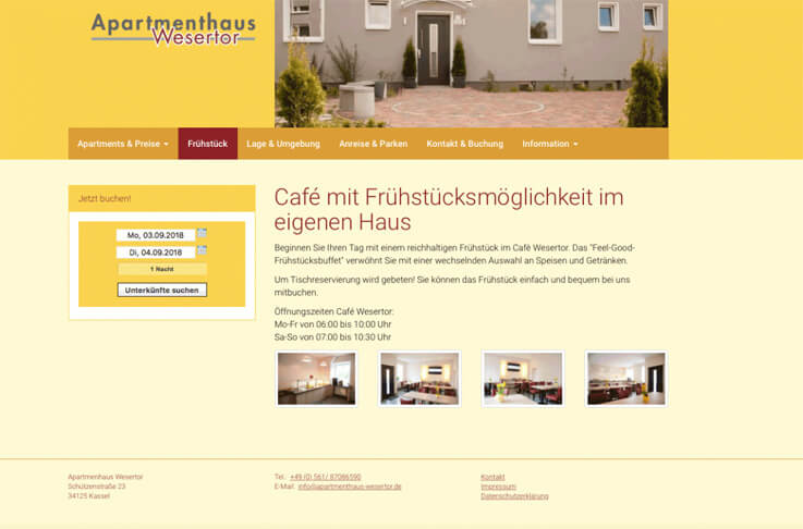 "Website of the ""Apartmenthaus Wesertor"" with integrated Lodgit online booking system"