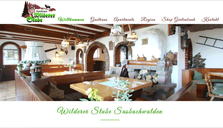 "Homepage of the ""Gasthaus Wilderer Stube"""
