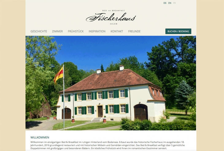 "Multi Language Website for ""Fischerhaus Salem"""