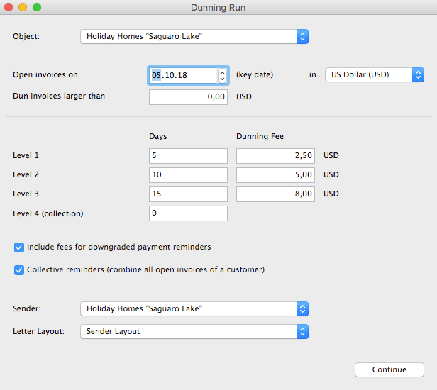 Settings for date, dunning fees and levels, etc. for the dunning run