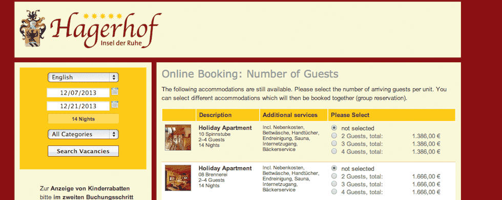 Online booking system for easy integration into your website