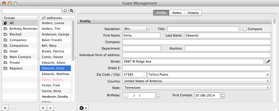 Guest Management: Control of contacts and associated records, guest correspondence (including group messaging)