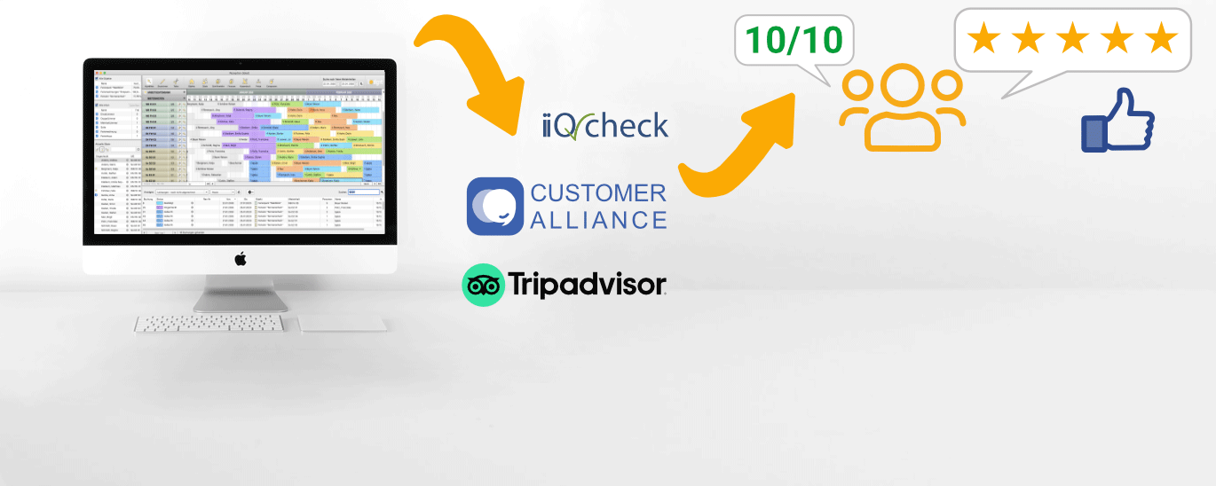 More guest reviews via websites such as TripAdvisor, Review Express, Customer Alliance and iiQCheck