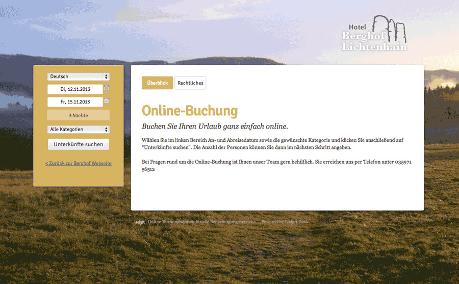 Example of a website with online hotel booking software